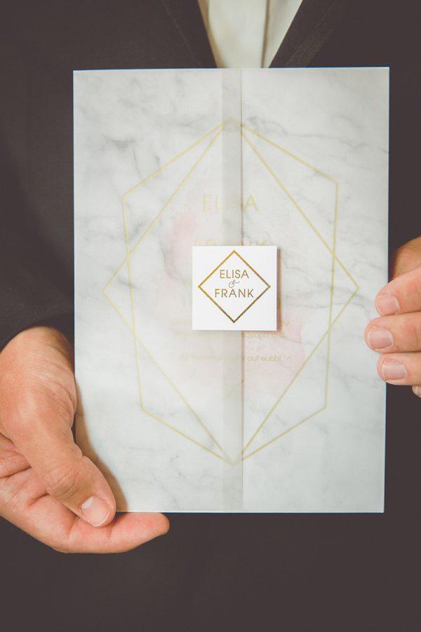 Einladung im Marble Gold Look